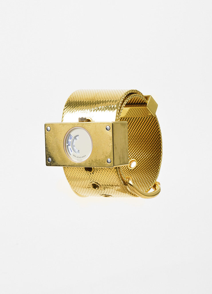 "Balenciaga Gold Toned Wide Mesh Strap Belt Buckle ""Montre Acier"" Quartz Watch Sideview"