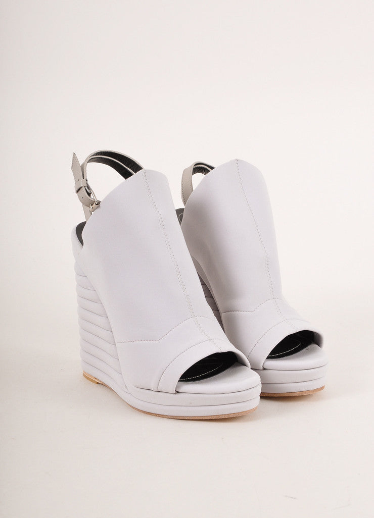 "Balenciaga New In Box Grey Neoprene ""Glove"" Banded Wedges Frontview"