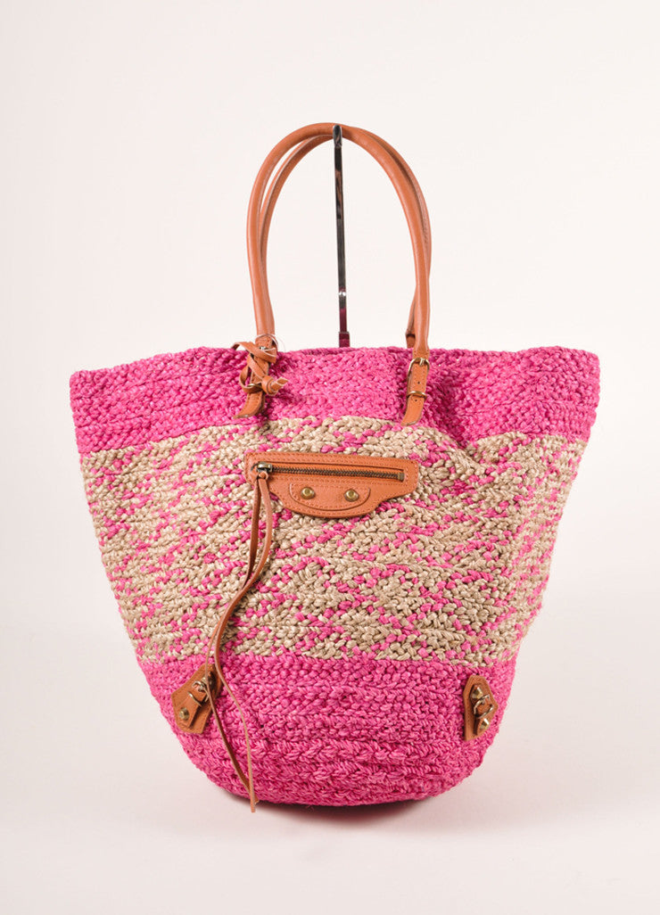 Balenciaga New With Tags Pink and Beige Woven Raffia Leather Trim Tote Bag Frontview