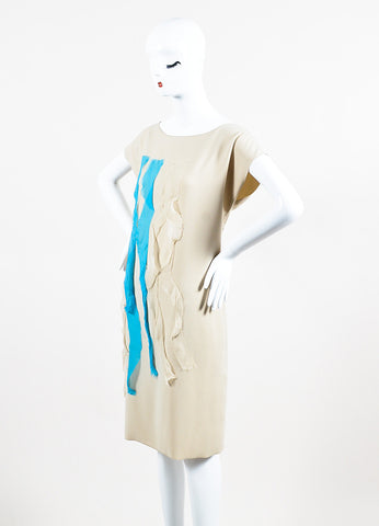 Bottega Veneta Beige and Teal Silk Raw Ribbon Short Sleeve Shift Dress Sideview