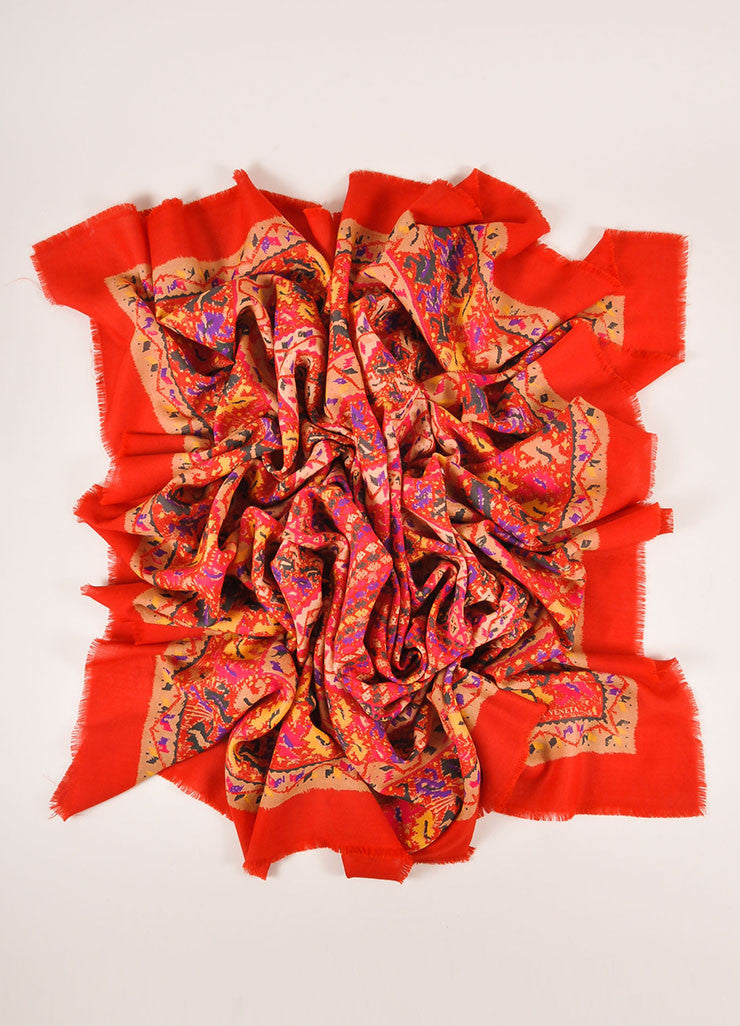 Bottega Veneta Red, Tan, and Multicolor Knit Graphic Print Scarf Frontview