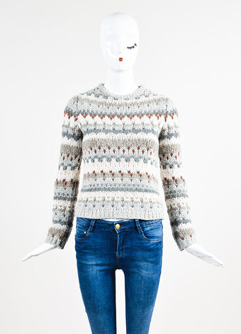 Brunello Cucinelli Grey and Cream Cashmere Chunky Knit Fair Isle Sweater Frontview