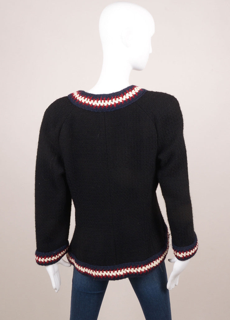 Chanel Black, Navy, Red, and Cream and Wool Textured Woven Button Embellished Jacket Backview