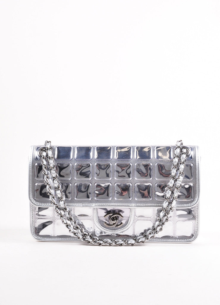 "Chanel Silver Metallic Leather ""Ice Cube"" Classic Flap Shoulder Bag Frontview"
