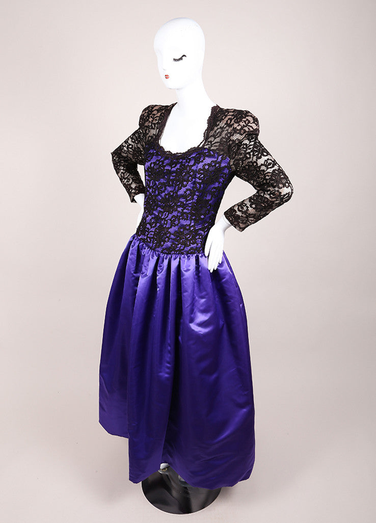 CH by Carolina Herrera Black and Purple Lace and Satin Pleated Long Sleeve Gown Sideview