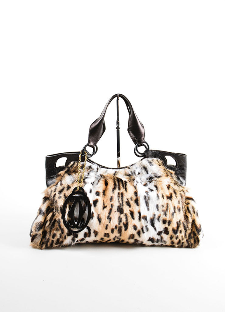 "Cartier Multi-Brown Leopard Print Goat Fur ""Marcello de Cartier"" Bag Frontview"