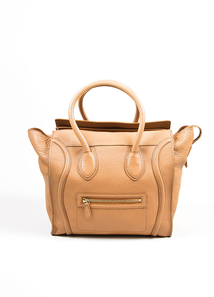 "Taupe Brown Celine Drummed Leather Structured Mini ""Luggage"" Tote Bag Frontview"