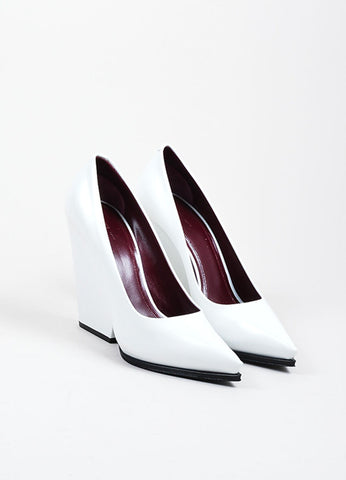 White Celine Leather Pointed Toe Cut Out Wedge Heel Pumps Frontview