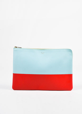 "Celine Light Blue Red Lambskin Bicolor ""Solo"" Zip Pouch front"