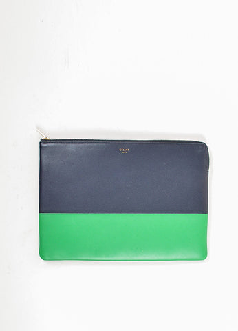 Celine Navy Blue, Green, and Metallic Gold Leather Bi Color Zippered Pouch Clutch Bag Frontview