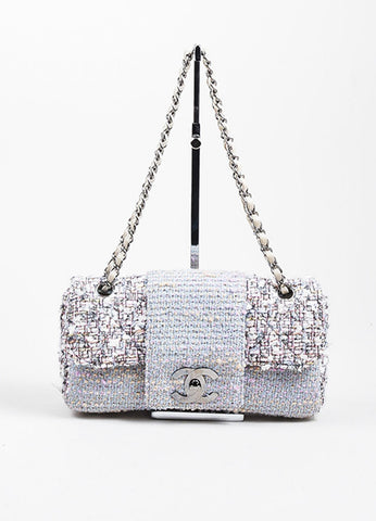 "Multicolor Chanel Pastel Tweed Classic ""Fantasy"" 'CC' Bag Frontview"