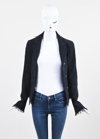 Chanel Black Wool and Silk Tweed Frayed Trim 'CC' Button Blazer Jacket Frontview