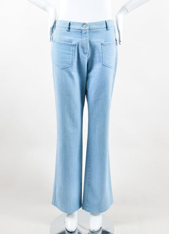 Chanel  Light Blue Wash Denim Pocket Boot Cut Jeans Frontview