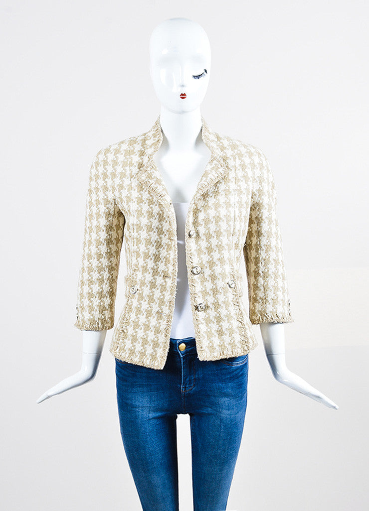Cream and Taupe Chanel Silk Woven Houndstooth Elbow Sleeve Crop Jacket Frontview