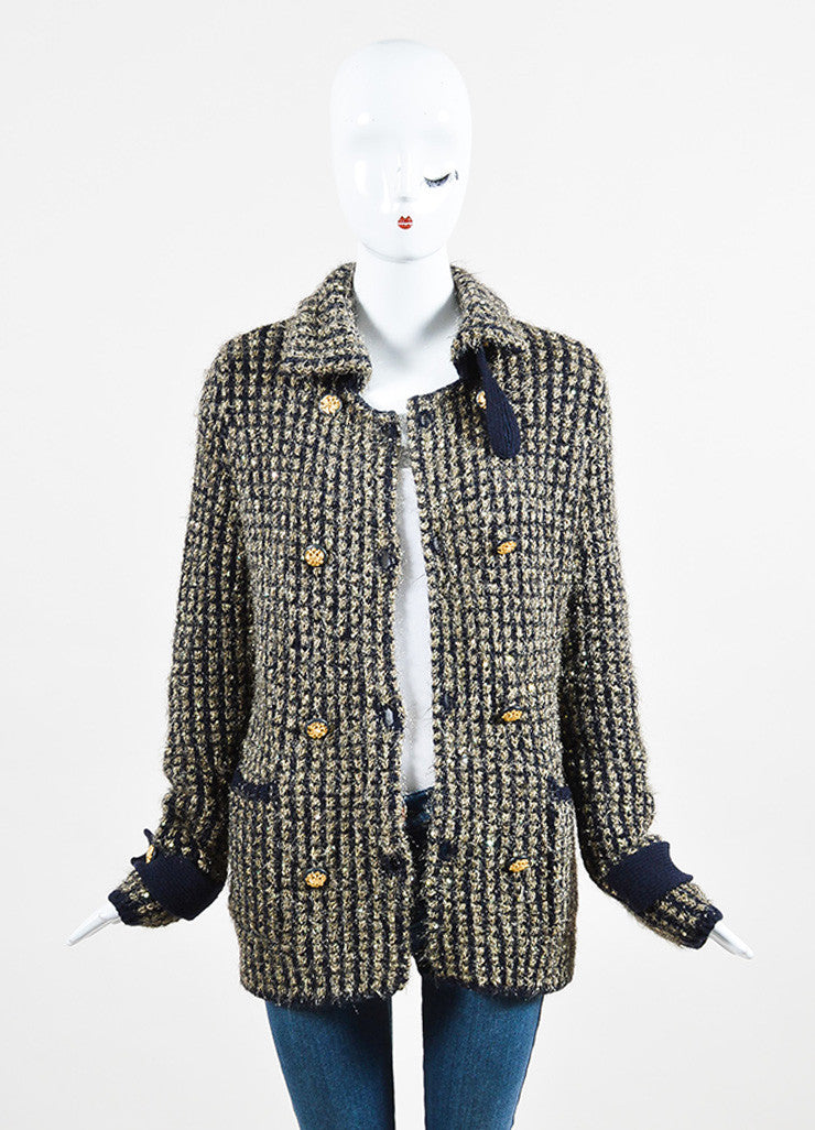 Chanel Gold and Navy Metallic Woven Cashmere Sequin Jacket Frontview