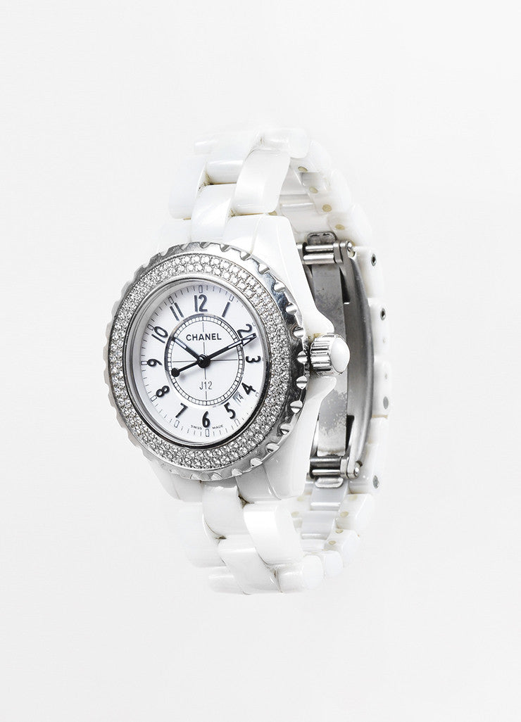 "Chanel White Ceramic Diamond Bezel ""J12"" Quartz Bracelet Watch Sideview"