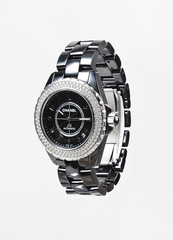 "Chanel Black Stainless Steel Ceramic Diamond ""J12 Automatic"" Watch"