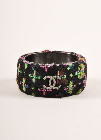 "Chanel Black and Multicolor Neon Tweed ""CC"" Bangle Bracelet Frontview"