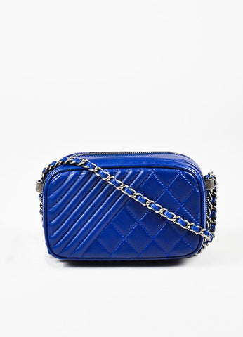 Chanel Blue Leather Coco Boy Mini Camera Crossbody Bag