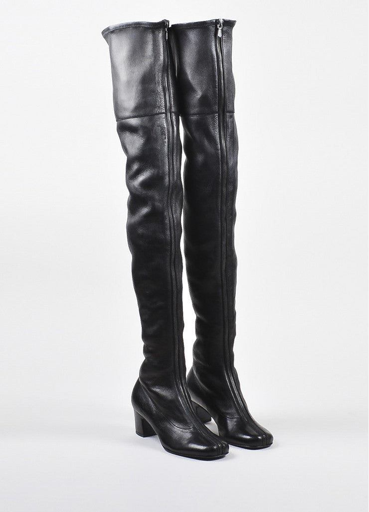 Black Chanel Pre-Fall Sample Leather Thigh High Boots Front