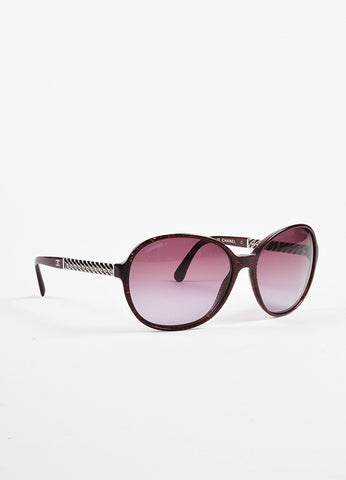 "Chanel Dark Red and Grey Checkered Woven Chain Trim Oval ""5304"" Sunglasses Sideview"