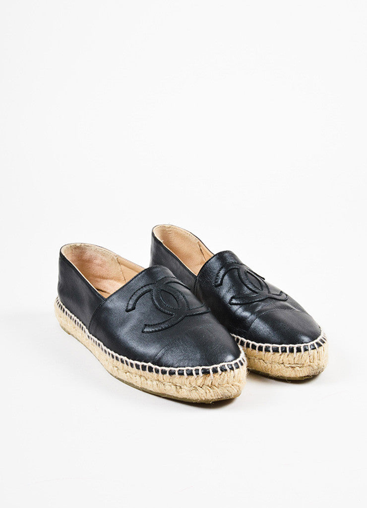 Chanel Black and Beige Leather Raffia Cap Toe 'CC' Logo Slip On Espadrilles Frontview