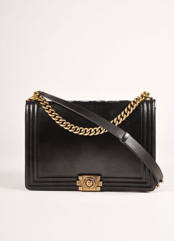 "Chanel Black and Brass Toned Smooth Leather Chain Strap ""Le Boy"" Flap Bag Frontview"