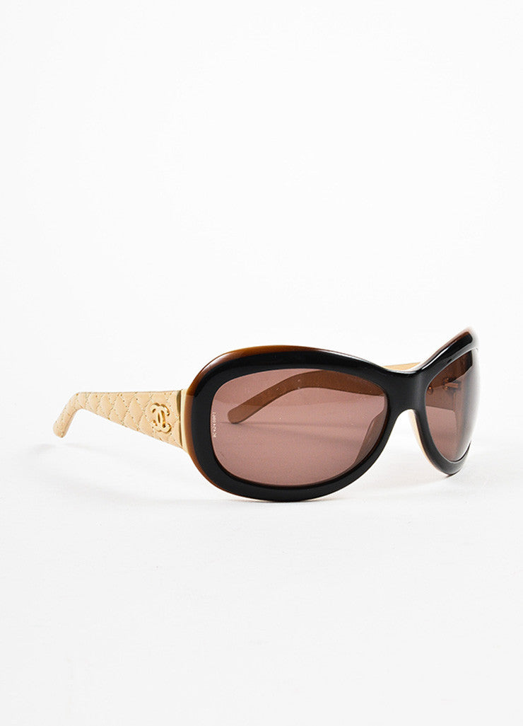 Chanel Black, Brown, and Beige Lambskin Leather Quilted Arm Sunglasses Sideview