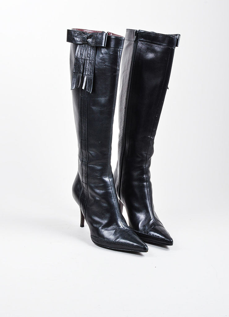 Black Chanel Leather Pointed Toe Knee High Fringe Bow Stiletto Boots Frontview