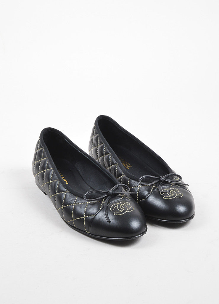 Chanel Black Leather Quilted Gold Tone Stitched 'CC' Cap Toe Ballet Flats Frontview