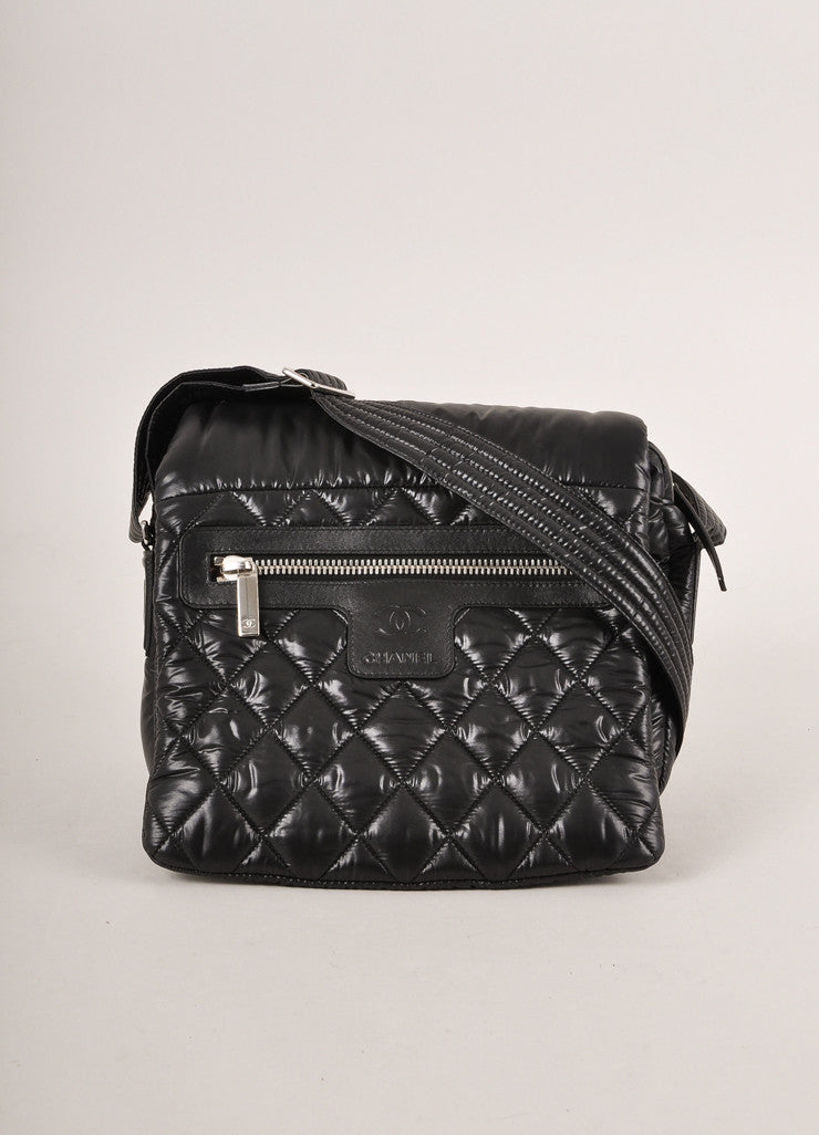 Chanel Black Nylon Coco Cocoon Puffer Messenger Crossbody Bag Frontview