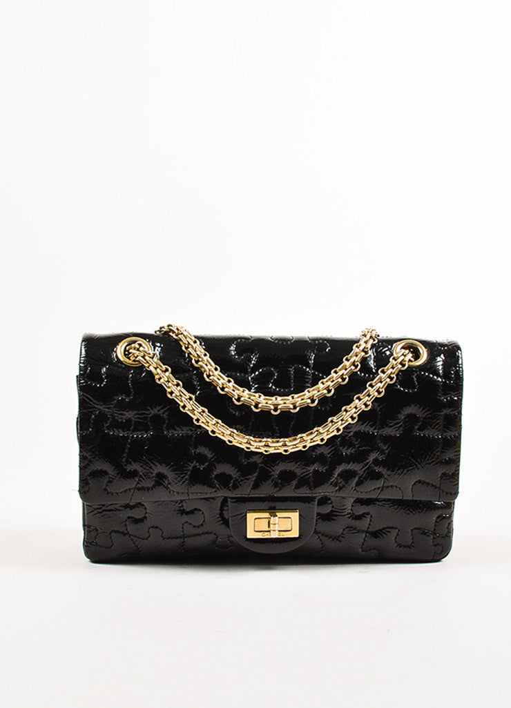 "Chanel Black Patent Leather ""Reissue Puzzle"" Shoulder Flap Bag Frontview"