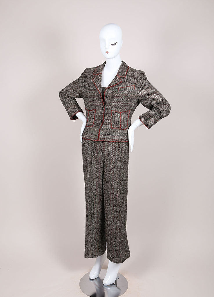 Chanel Black and Red Cotton Blend Tweed Three Piece Pant Suit Sideview