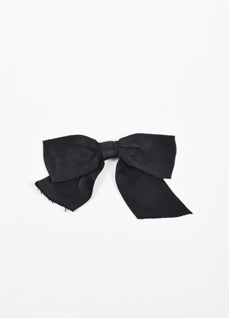 Chanel Black Satin Oversized Bow Tie Brooch Pin Frontview