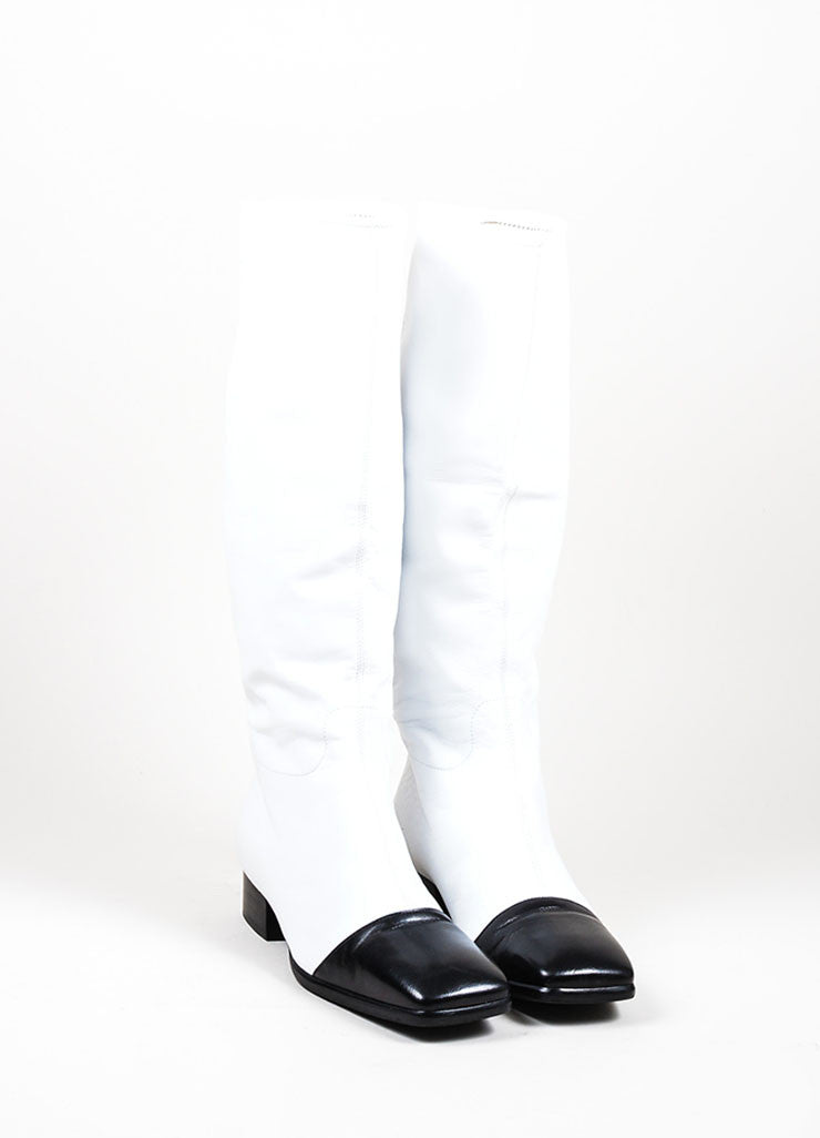 Black and White Chanel Leather Square Toe Stitched 'CC' Mid Calf Boots Frontview