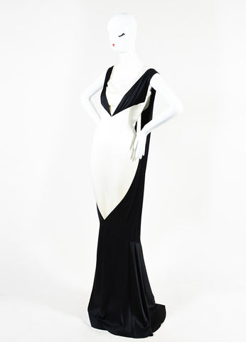 Chanel Black and White Silk Color Block Layered and Triple Split Gown Sideview