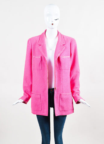 Chanel Bubblegum Pink Pulled Tweed Woven Trim Notch Lapel Jacket Frontview