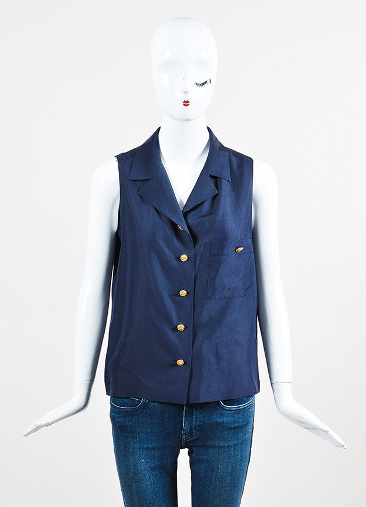 Chaenl Navy Blue Silky Gold Toned 'CC' Button Sleeveless Blouse Top Frontview
