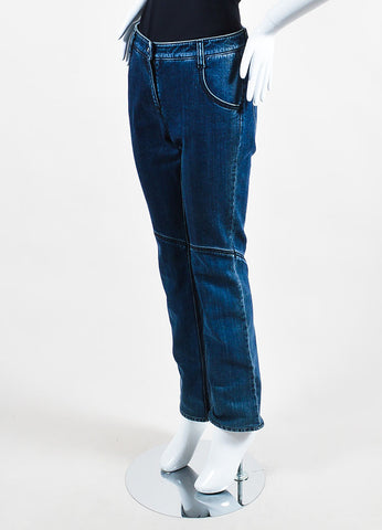 Chanel Denim Blue Top Stitched Knee Four Pocket Straight Leg Jeans Sideview