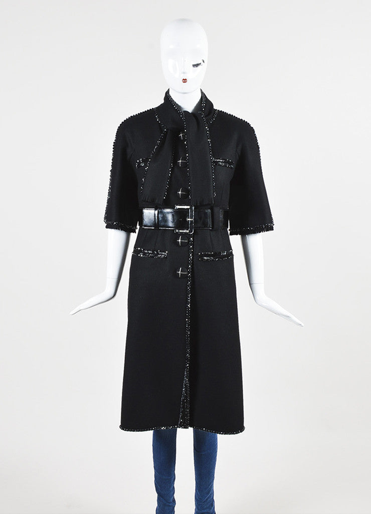 Chanel Black Wool Bead Embellished Belted Short Sleeve Coat Frontview