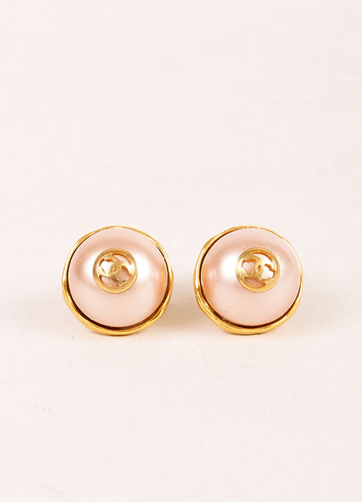 "Chanel Gold Toned and Faux Pearl ""CC"" Logo Stud Earrings Frontview"