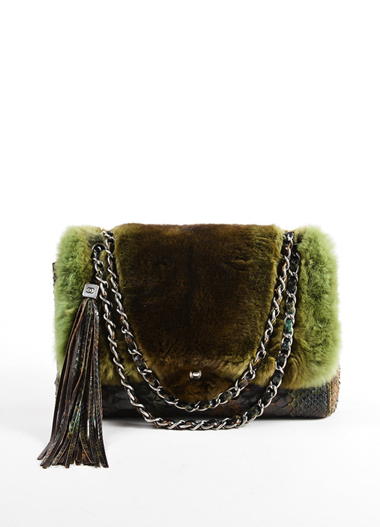 Chanel Green and Brown Chinchilla Fur and Python Leather Jumbo Classic Flap Bag Frontview