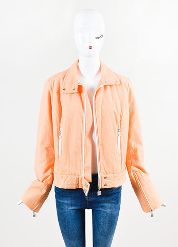 "Chanel ""Apricot"" Orange and White Seersucker Jacket  Frontview"