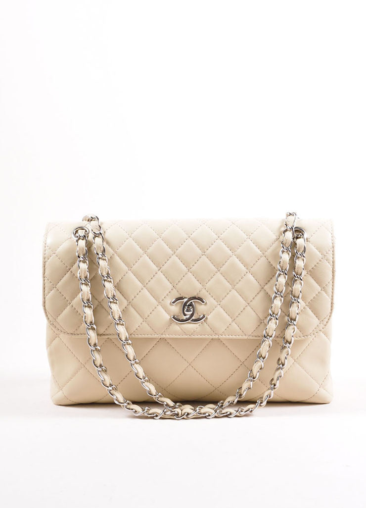 "Chanel Light Beige Calfskin Leather ""Quilted in the Business"" Flap Bag Frontview"