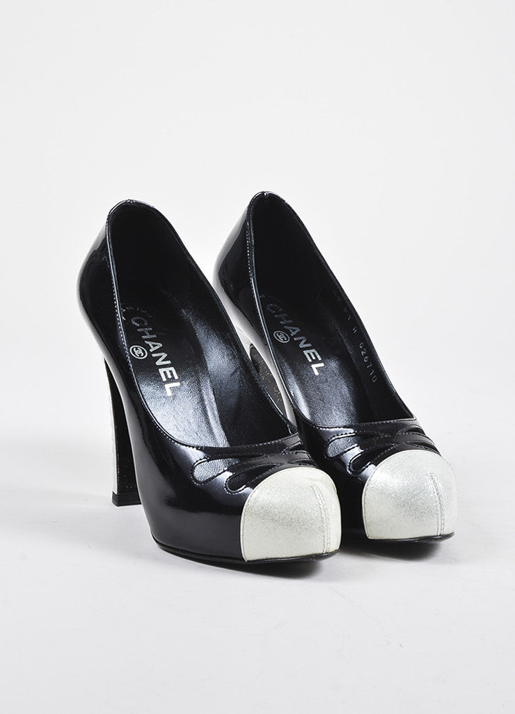 Black and White Chanel Patent Leather Glitter Cap Toe Cutout Pumps Frontview