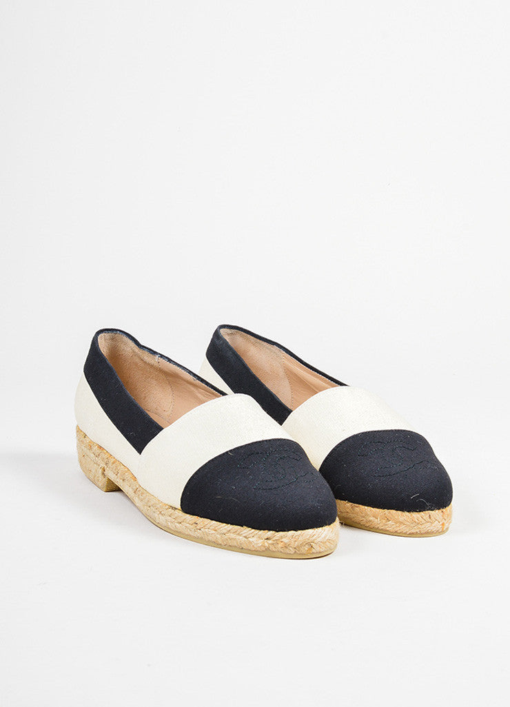 Cream and Black Chanel Canvas Cap Toe 'CC' Logo Espadrille Flats Frontview