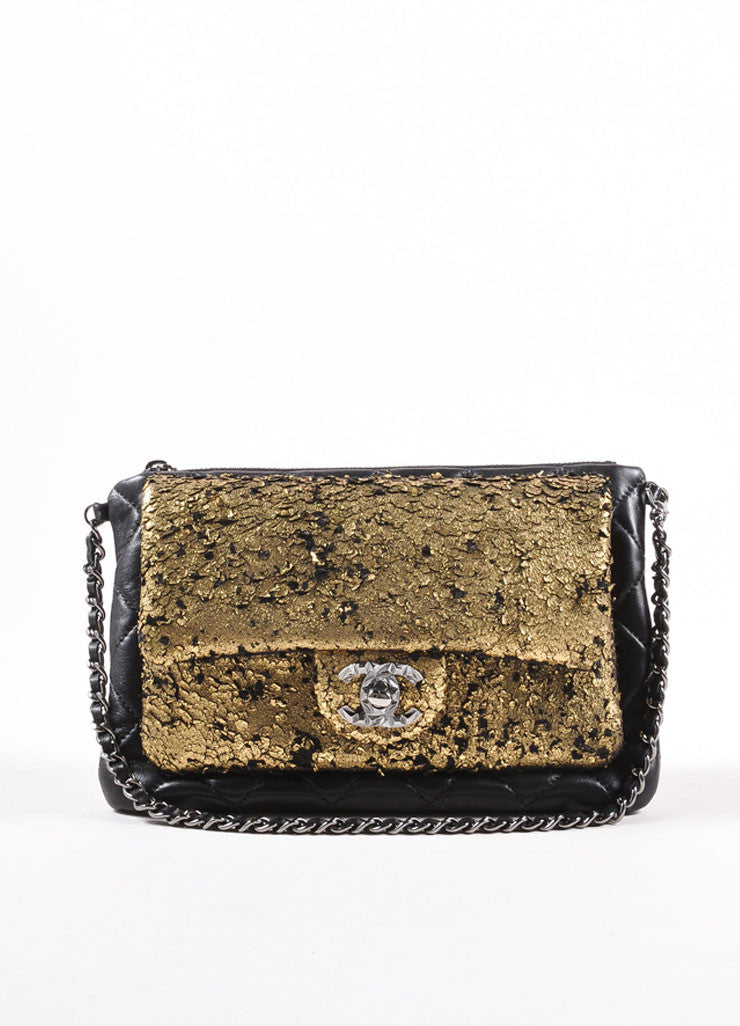 Chanel New Without Tags Black Gold Tone Metallic Flaked Leather Quilted Flap Pocket Bag Frontview
