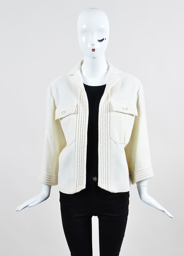 Cream Chanel Wool Woven Knit Sparkle Crop Sleeve Jacket Frontview