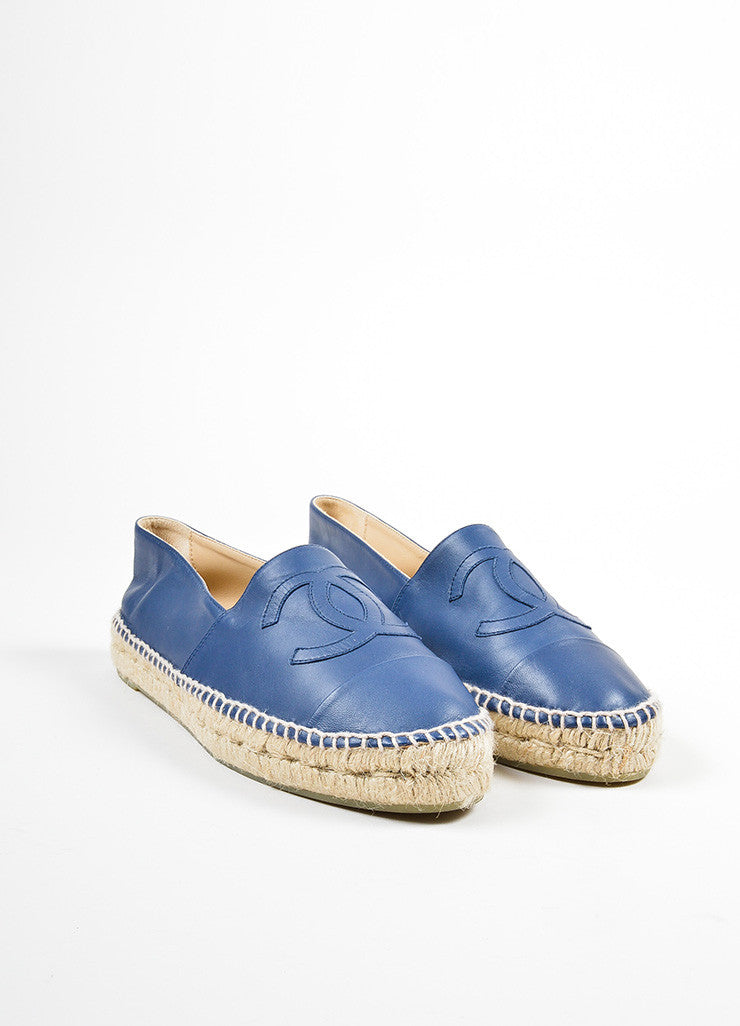 Blue Leather Chanel 'CC' Slip On Espadrilles Frontview