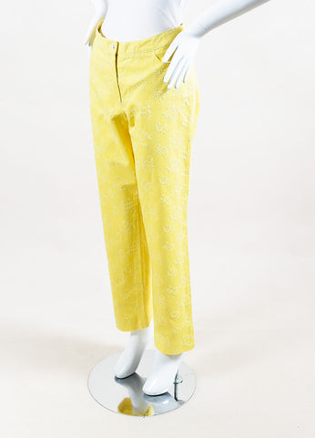Chanel Yellow Denim Perforated 'CC' Straight Leg Pants Sideview